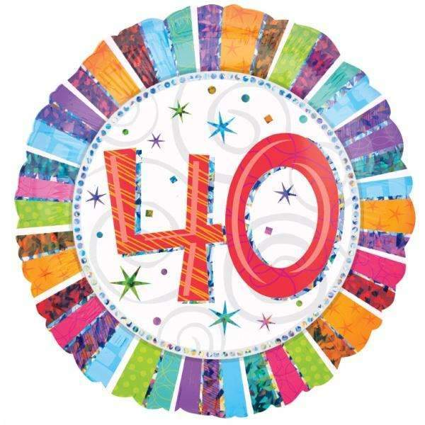 FOIL BALLOON 40TH BIRTHDAY MULTICOLOUR 45cm 16070