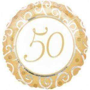 FOIL BALLOON 50TH ANNIVERSARY GOLD 43cm 11058