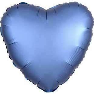 FOIL BALLOON AZURE BLUE SATIN HEART 48cm 36809