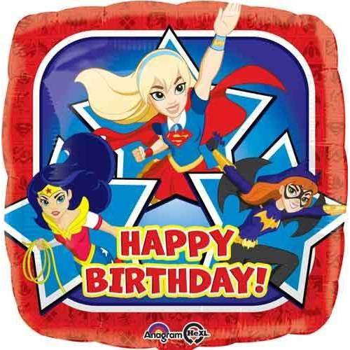 FOIL BALLOON HAPPY BIRTHDAY DC SUPERHERO GIRLS 43cm 33224
