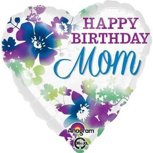 FOIL BALLOON HAPPY BIRTHDAY MOM HEART 43cm 30739