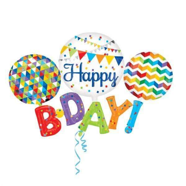 FOIL BALLOON HAPPY BIRTHDAY MULTI SET 142x91cm