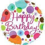 FOIL BALLOON HAPPY BIRTHDAY POLKA DOT 43cm 18162