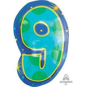"FOIL BALLOON JUNIOR NO ""9"" RAINBOW 35X53cm 35770"