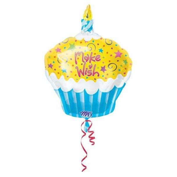 FOIL BALLOON MAKE A WISH CUPCAKE 48cm 12684
