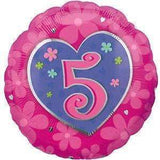 "FOIL BALLOON NO ""5"" IN A HEART ROUND 45cm 16006"