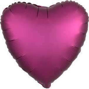 FOIL BALLOON POMEGRANATE PINK SATIN HEART 48cm 36828