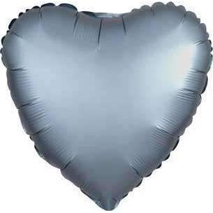 FOIL BALLOON STEEL BLUE SATIN HEART 48cm 36814