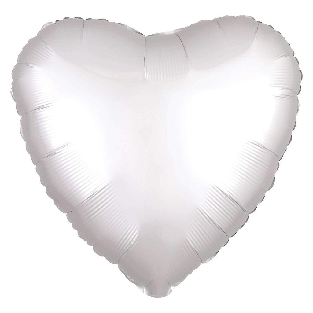 FOIL BALLOON WHITE SATIN HEART 48cm 38590
