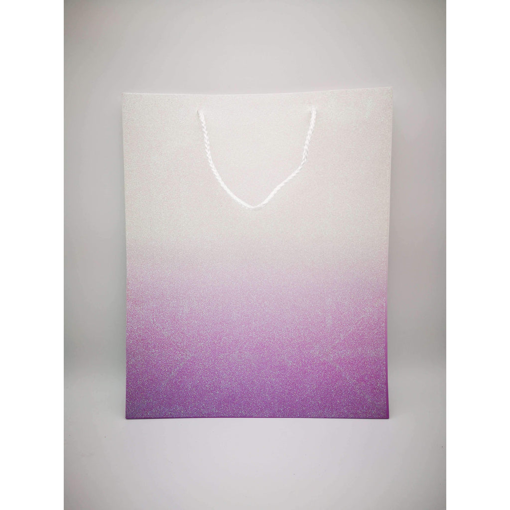 GIFT BAG - 128 - PURPLE/WHITE W/GLITTER