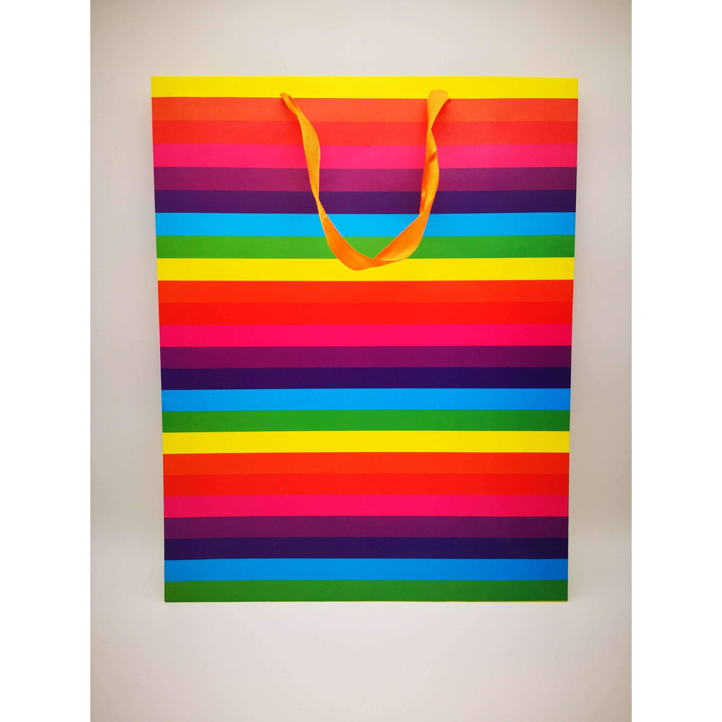 GIFT BAG - 157 - RAINBOW STRIPED COLOURS
