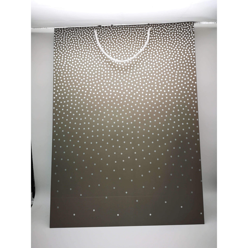 GIFT BAG - 166 - GREY W/SILVER POLKA DOTS