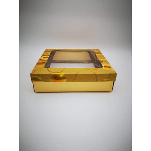 GIFT BOX CLEAR WINDOW - GOLD CIRCLES DESIGN