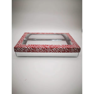 GIFT BOX CLEAR WINDOW - RED SILVER PRINT
