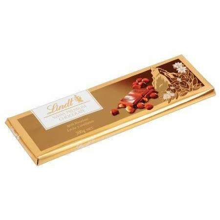 LINDT GOLD BAR HAZELNUT 300g