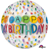 ORBZ CLEAR BALLOON HAPPY BDAY 38x40cm