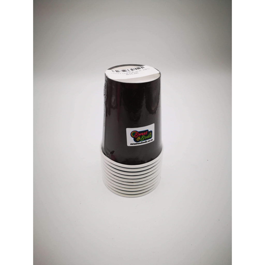 PARTY CUPS BLACK 10PC