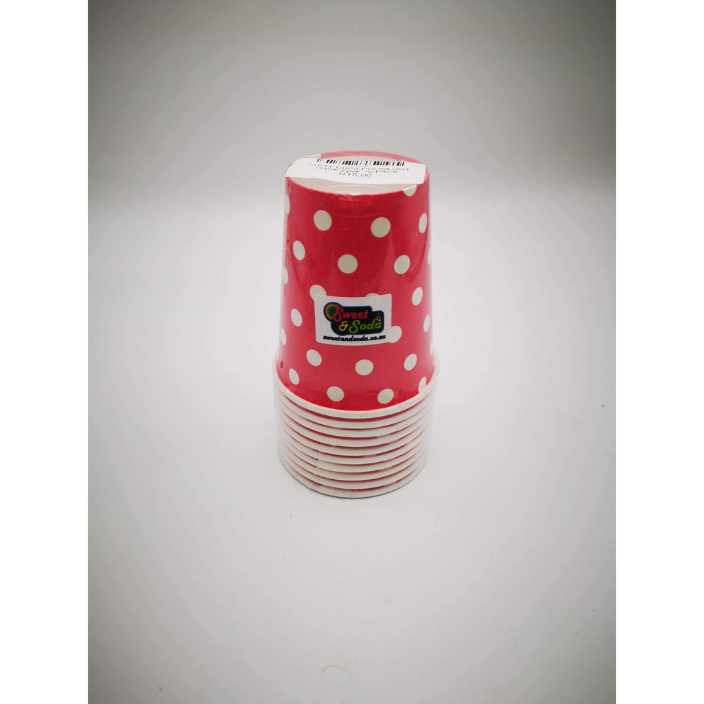PARTY CUPS POLKA DOT DARK PINK 10 PACK