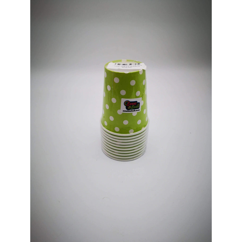 PARTY CUPS POLKA DOT LIME GREEN 10 PACK