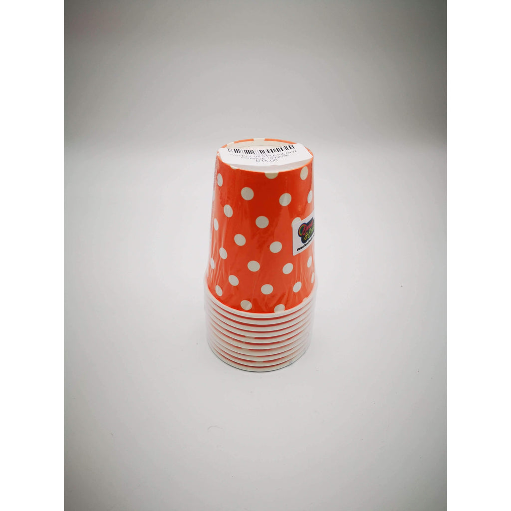 PARTY CUPS POLKA DOT ORANGE 10 PACK