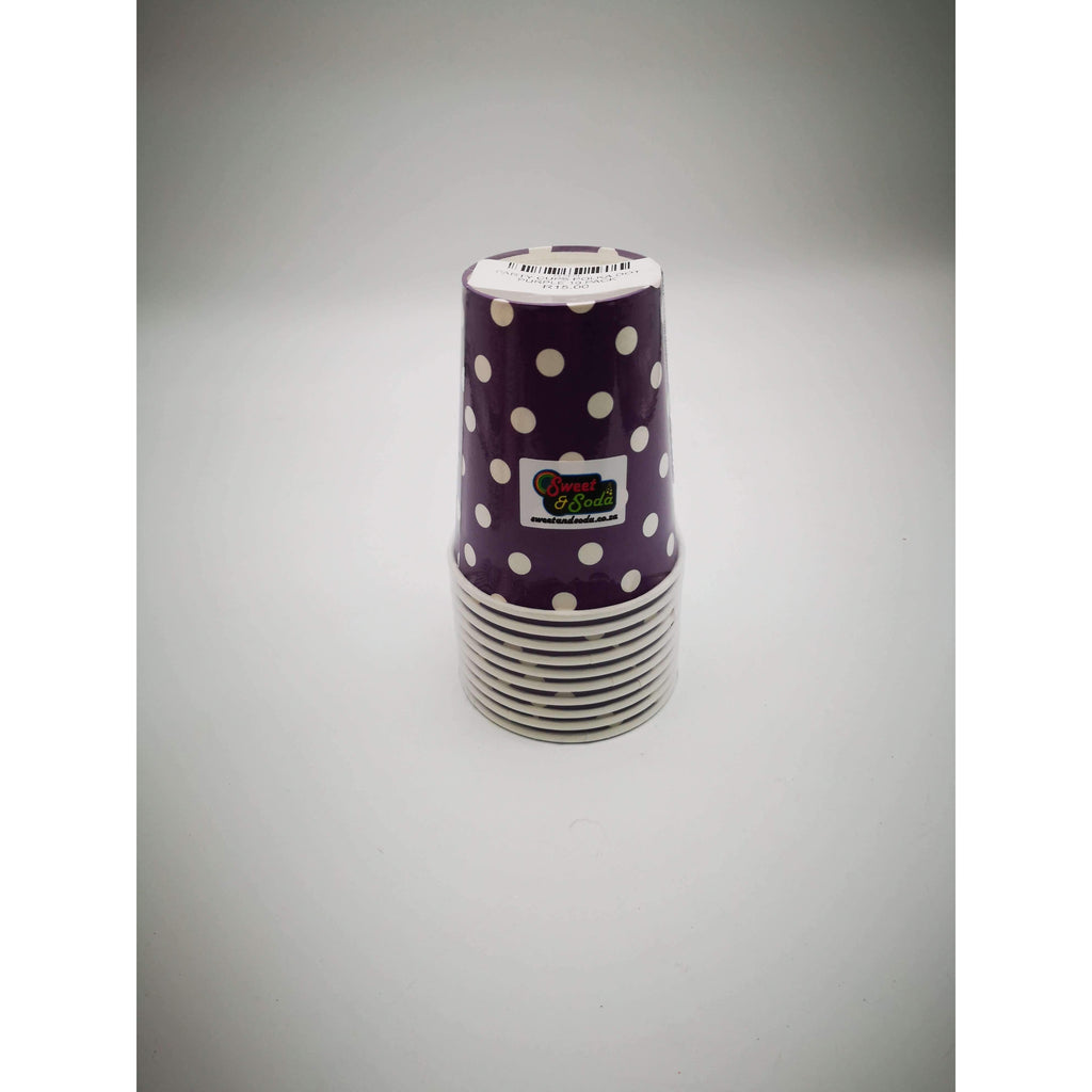 PARTY CUPS POLKA DOT PURPLE 10 PACK