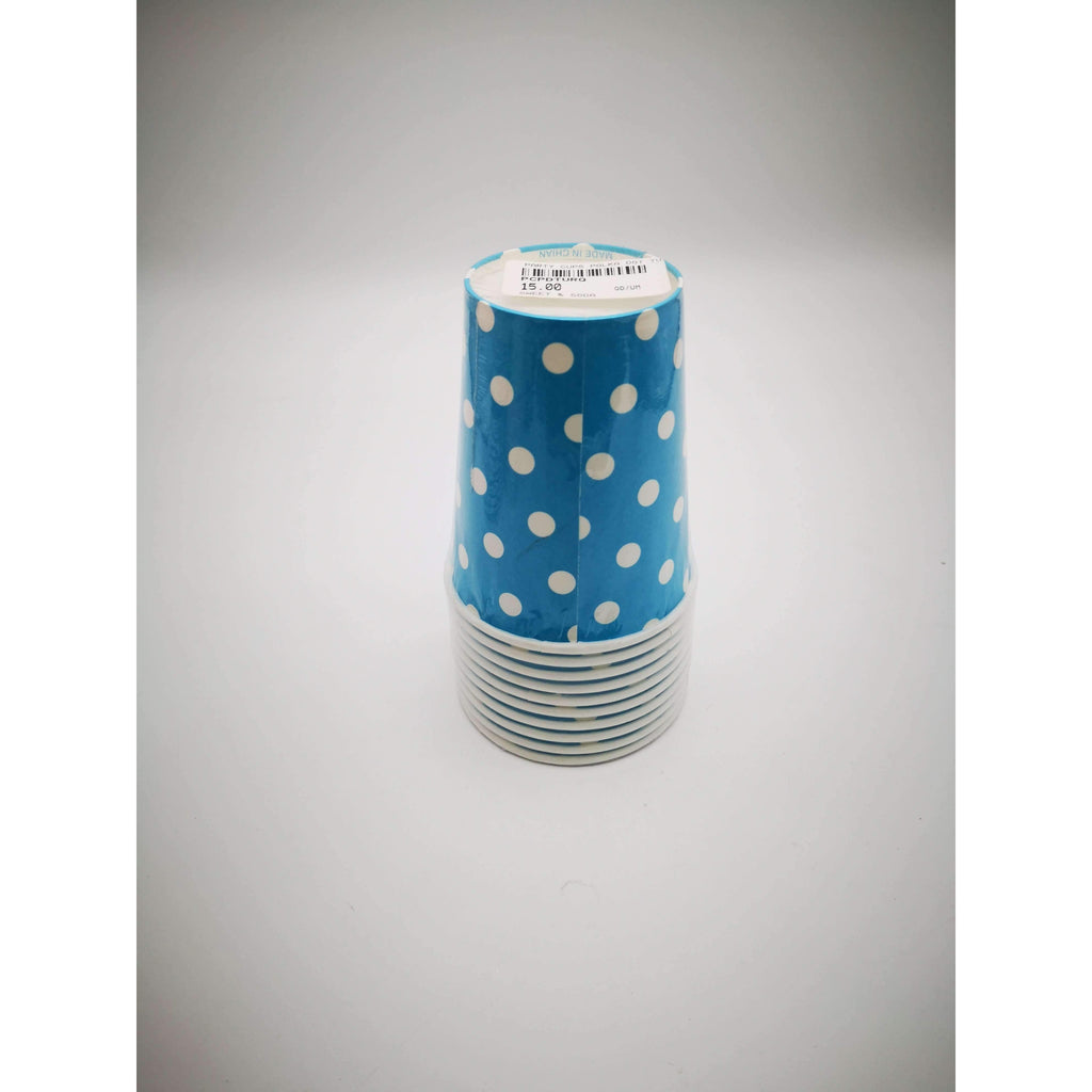 PARTY CUPS POLKA DOT TURQUOISE 10 PACK