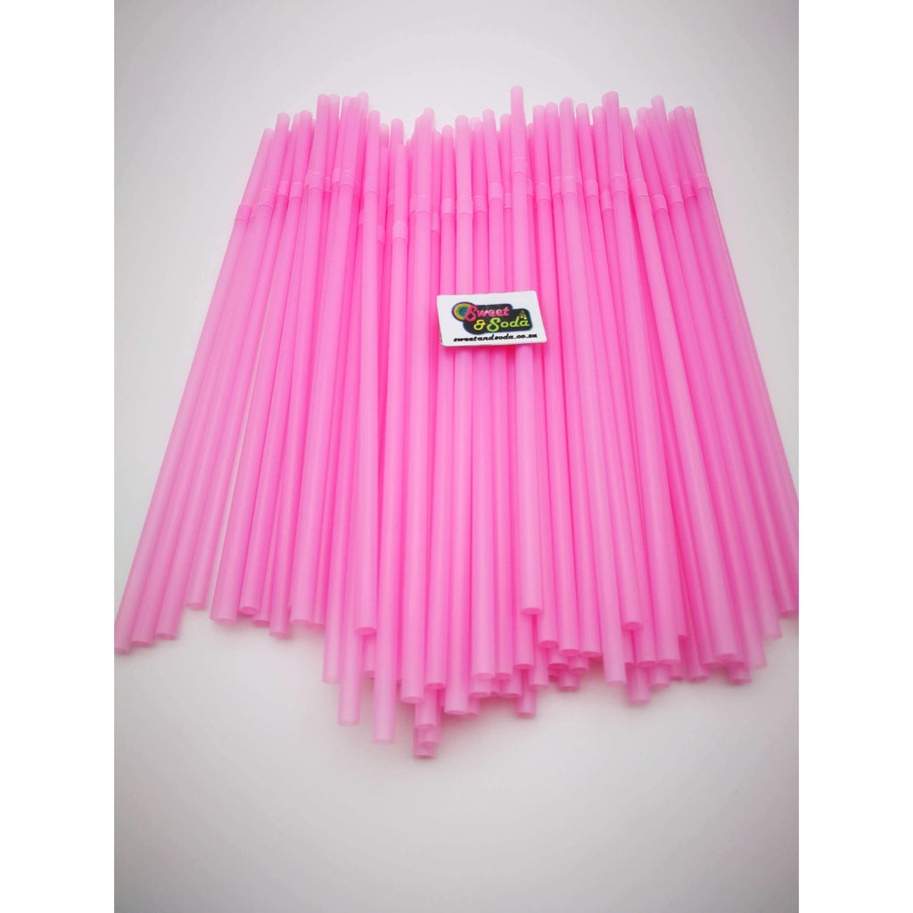 PARTY FLEXI STRAWS 100 PCS LIGHT PINK