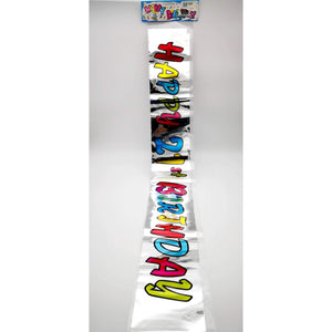 PARTY FOIL BANNER 21ST BIRTHDAY SILVER W/RAINBOW LETTERS