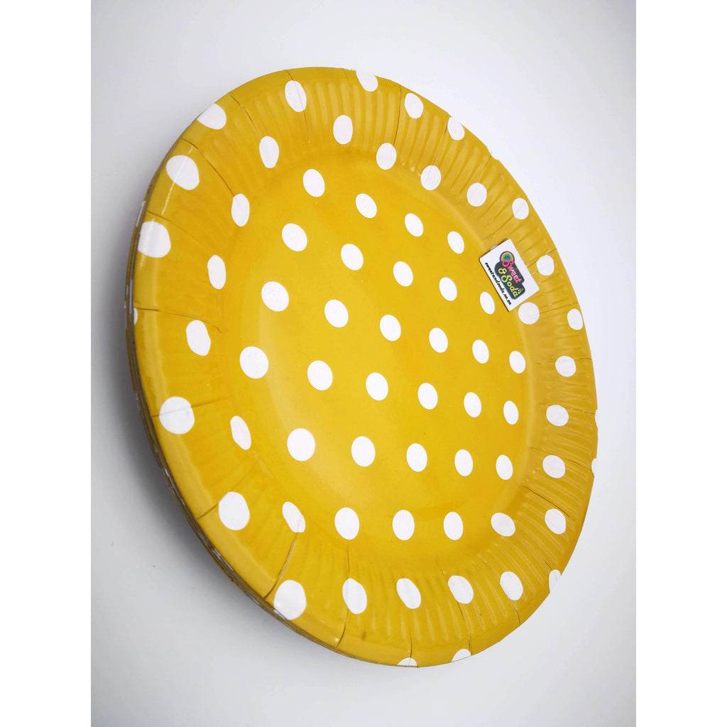 "PARTY PLATES 9"" POLKA DOT GOLD 10 PACK"