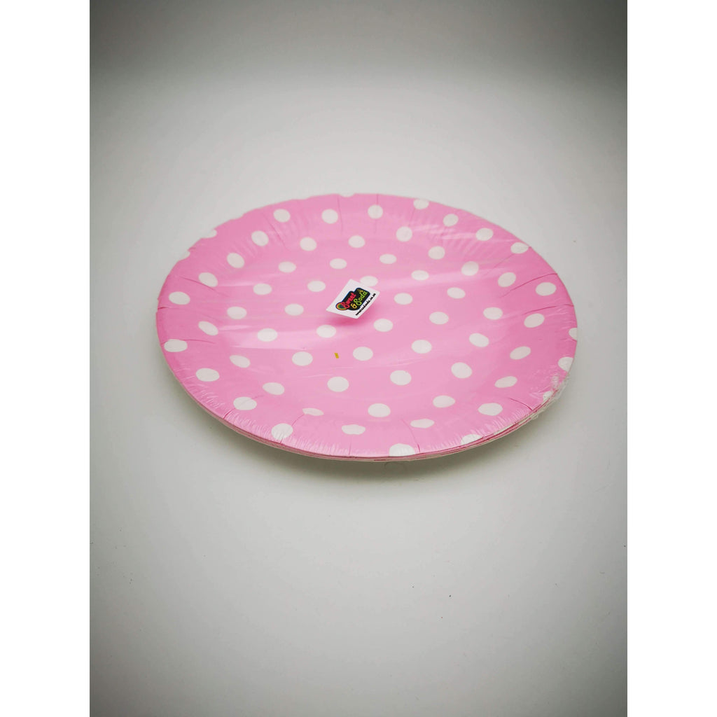 "PARTY PLATES 9"" POLKA DOT LIGHT PINK 10P"