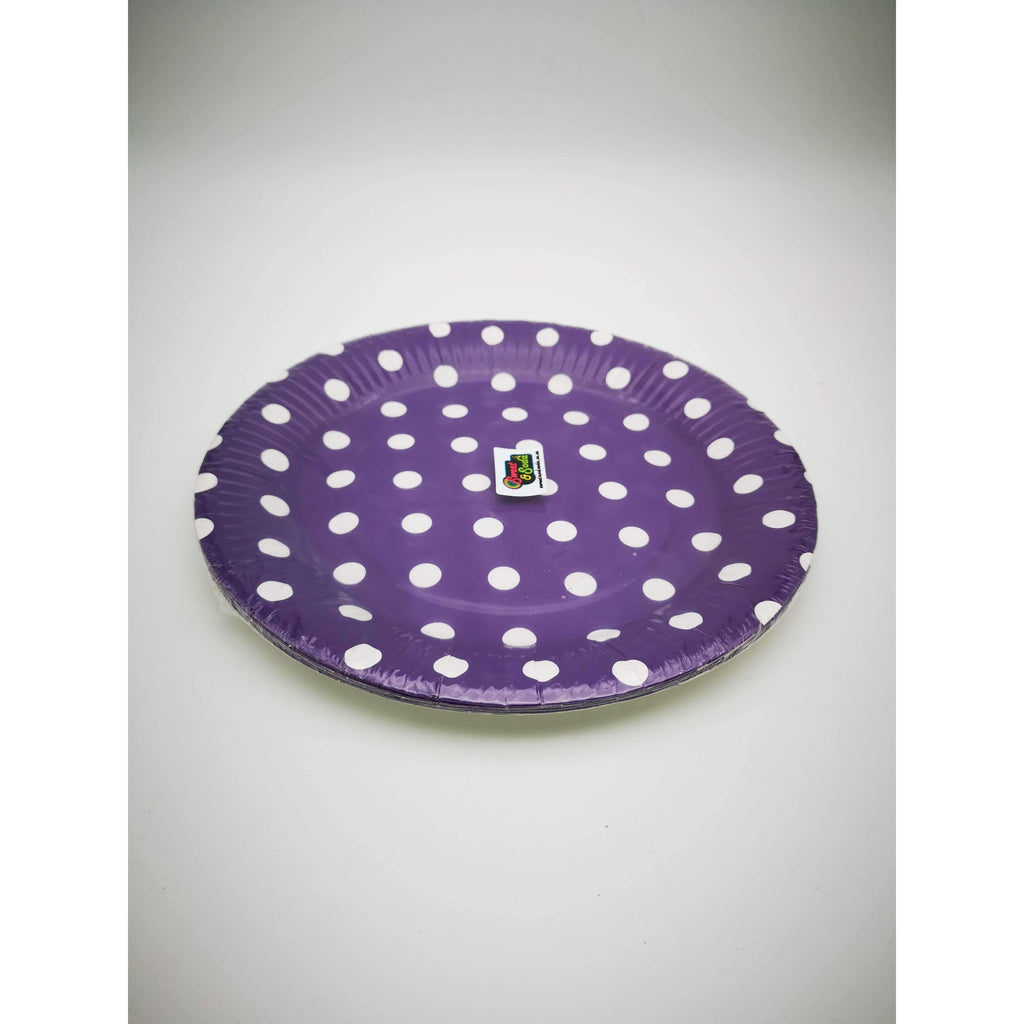 "PARTY PLATES 9"" POLKA DOT PURPLE 10 PACK"