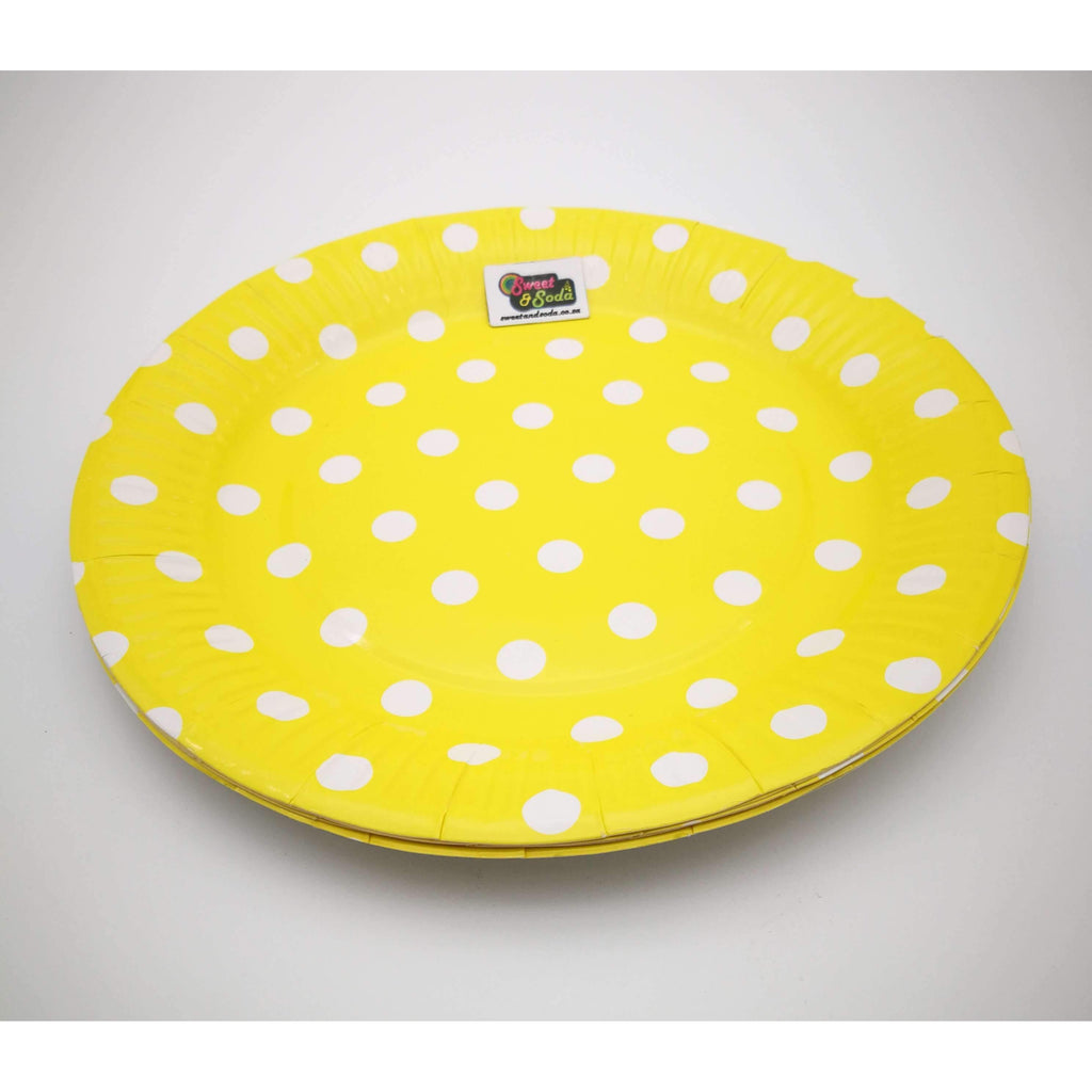 PARTY PLATES 9'' POLKA DOT YELLOW 10PC