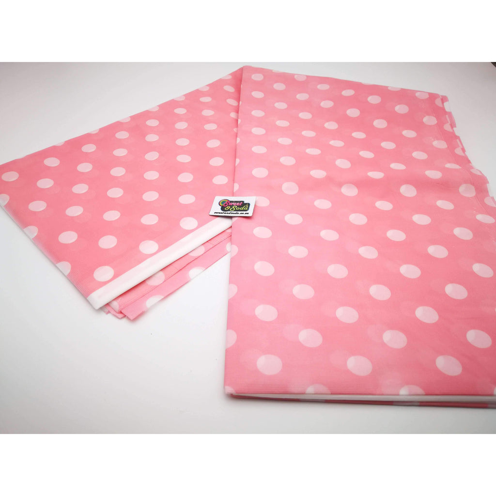 PARTY POLKA DOT TABLE COVER PINK