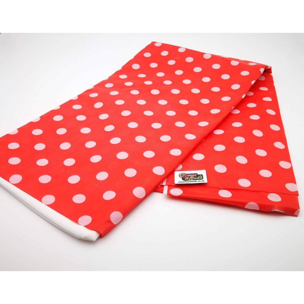 PARTY POLKA DOT TABLE COVER RED