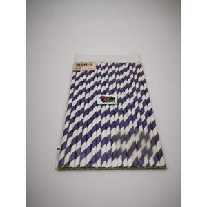 PARTY STRIPED PAPER STRAWS 20 PK PURPLE