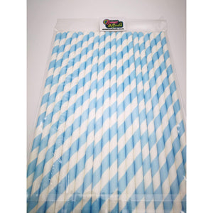 PARTY STRIPED PAPER STRAWS 20s BABY BLUE