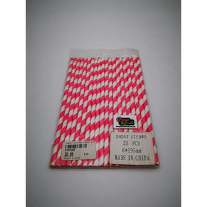 PARTY STRIPED PAPER STRAWS 20s DARK PINK