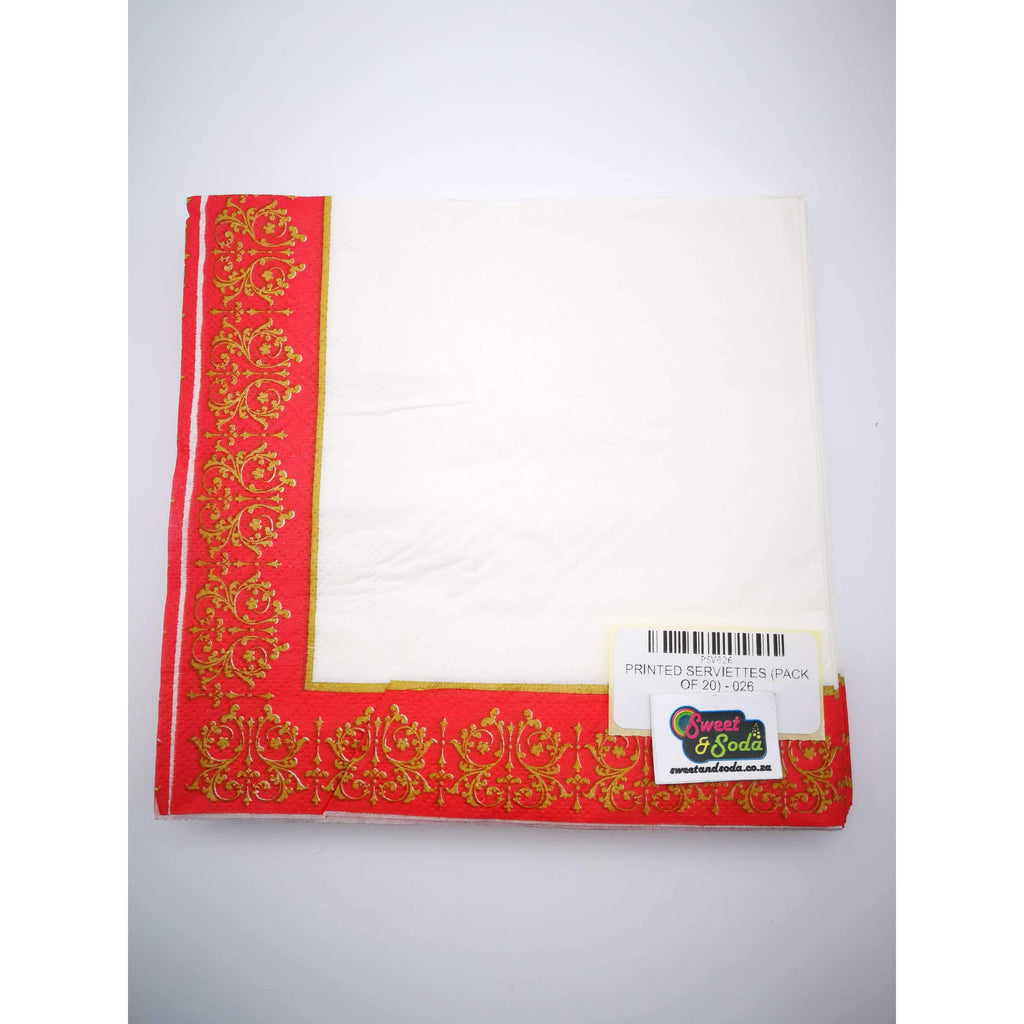 PRINTED SERVIETTES (PACK OF 20) - 026