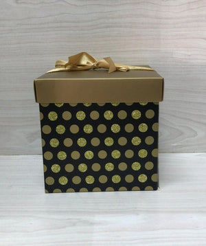 Gift Box Polka Dot Gold 16 x 16 cm