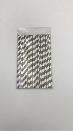PARTY STRIPED PAPER STRAWS 20 SILVER