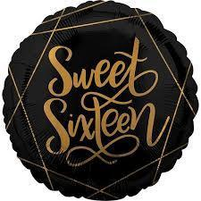 Foil Balloon Sweet Sixteen 43cm 39741