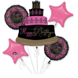 Happy Birthday Foil Balloon Bouquet Pink/Black