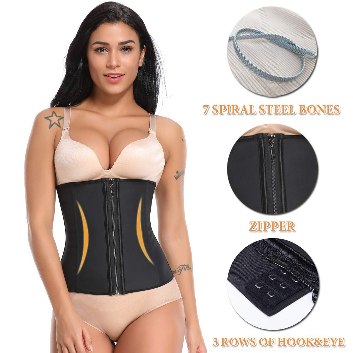 0b8af5a30 Hourglass Waist Slimming Latex Zipper and Hook Waist Trainer -Slliim
