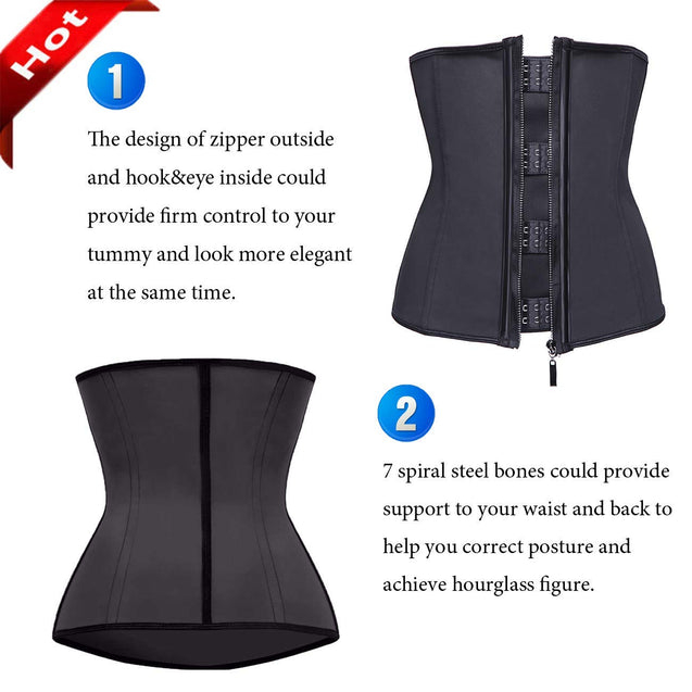 Latex Waist Training Corsets with Zip & Hook
