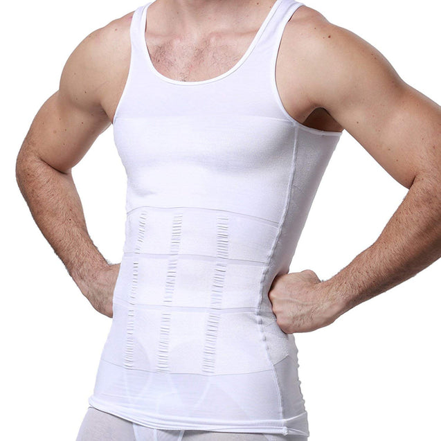 Mens Slimming Body Shaper Vest Shirt Abdomen Slim