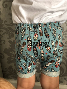 Personalised Blue Feather Rolled Shorts