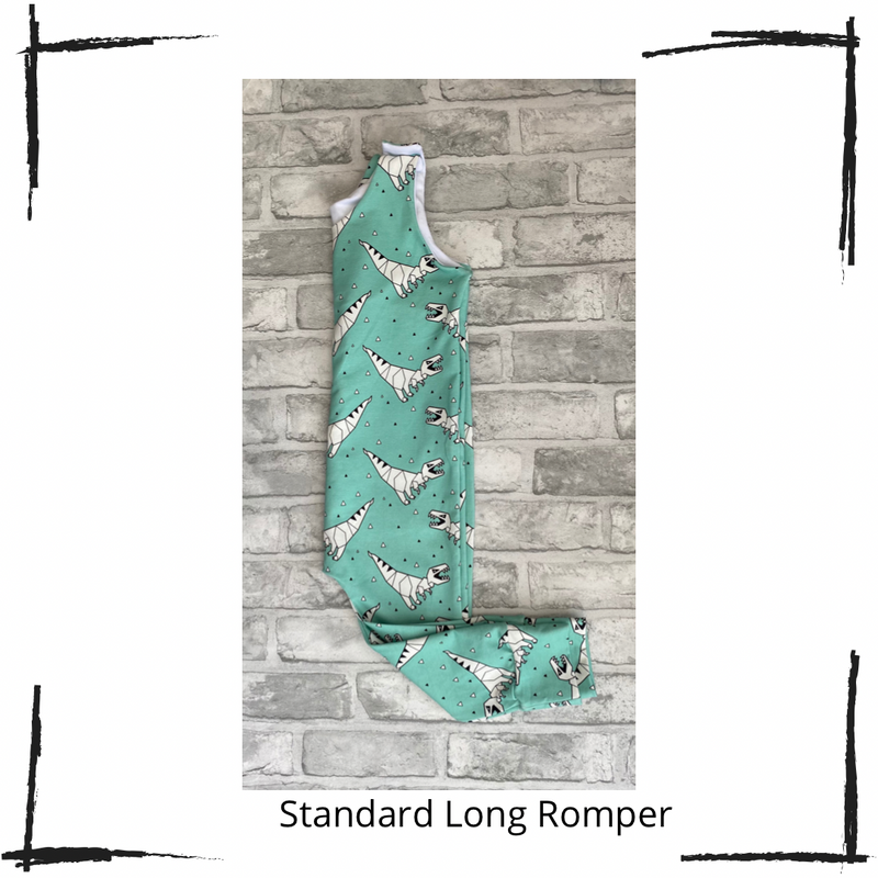 Teal Dinosaurs Long Rompers