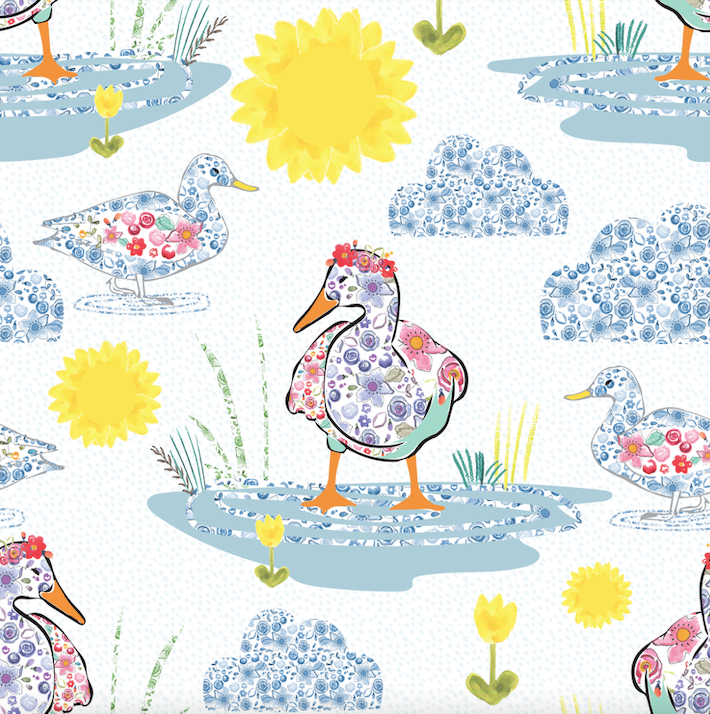 Floral Puddle Duck Short Rompers