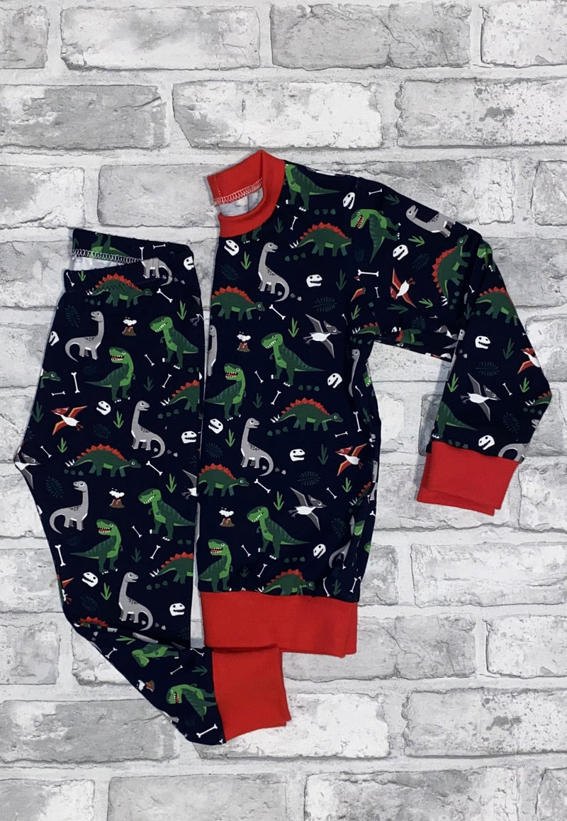 Navy Dinosaurs Long Rompers