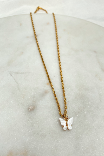 Butterfly Necklace - White